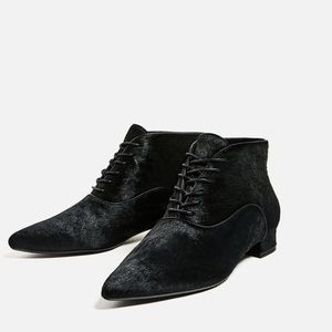 Genuine Cowhide Leather Lace Up Ankle Boots